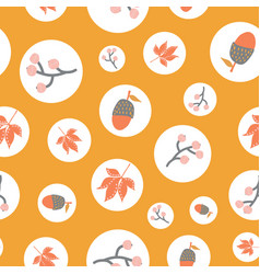 scattered autumn elements in polka dots seamless vector image