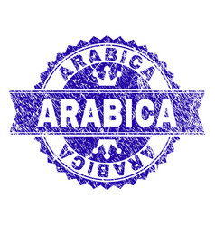 Scratched textured arabica stamp seal with ribbon vector