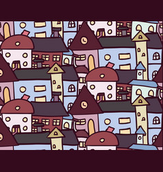 seamless doodle pattern with houses for your vector image