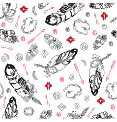 seamless pattern with feathers and beads on whit vector image