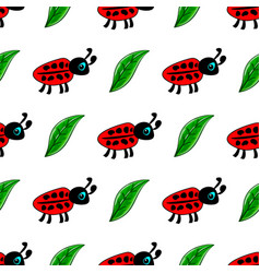 Seamless pattern with ladybug vector