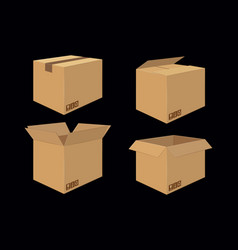 Set of four cardboard boxes open and closed box vector