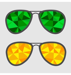Set of glasses with green and yellow abstract vector