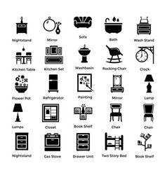 set of interior and decoration glyph icons 4 vector image