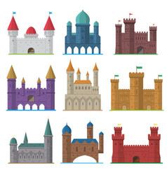 Set of old flat medieval castles vector