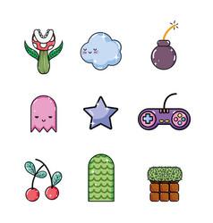 set of retro videogames items vector image