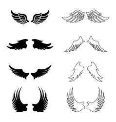 set wings - silhouette design elements vector image