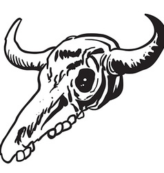 Simple black and white cow skull vector