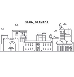 Spain granada architecture line skyline vector