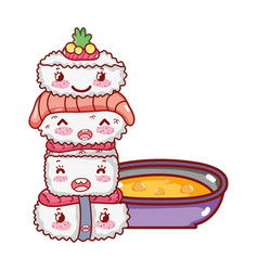 Stacked sushi wasabi fish salmon and soup kawaii vector
