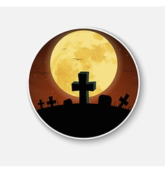 Sticker icon for Halloween night scenery vector