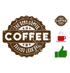 The best coffee reward stamp with grunge texture vector