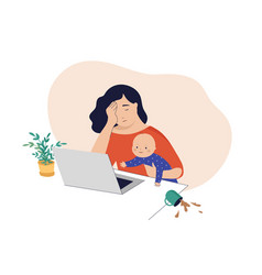 Tired mom trying to work holding baby in her arms vector
