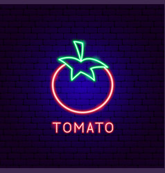 Tomato neon label vector