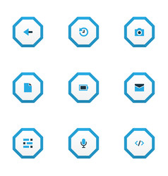 User icons colored set with dashboard camera vector