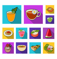 Vegetarian dish flat icons in set collection for vector