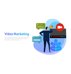 video marketing flat design concept vlog business vector image