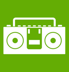 vintage tape recorder icon green vector image