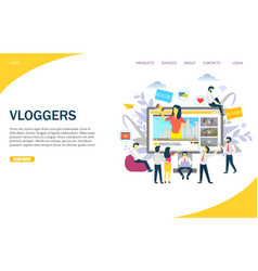 vloggers website landing page design vector image