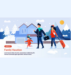 Webpage banner inviting on family winter vacation vector