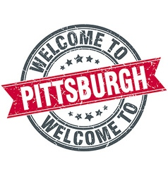 Welcome to Pittsburgh red round vintage stamp vector
