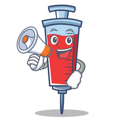 With megaphone syringe character cartoon style vector