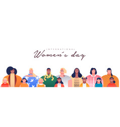 women day banner diverse mother daughter group vector image
