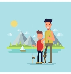 Father and son going fishing Happy child spends vector image vector image