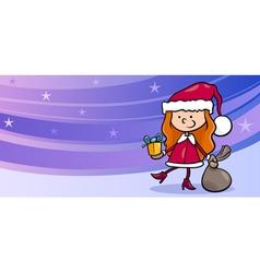 girl santa greeting card cartoon vector image vector image