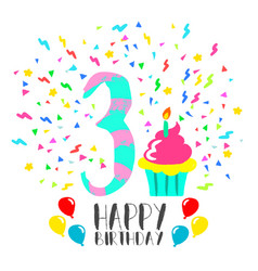happy birthday card for 3 year kid fun party art vector image