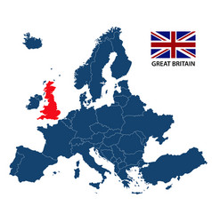 map of europe with highlighted great britain vector image vector image