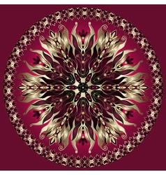 Purple gold black mandala vector image
