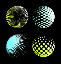 set abstract halftone 3d spheres 2 vector image