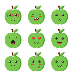 set collection of flat design emoji green apples vector image vector image