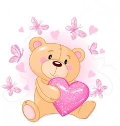 teddy bear with love heart vector image vector image