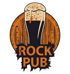 banner for rock pub with glass of beer and barrel vector image vector image