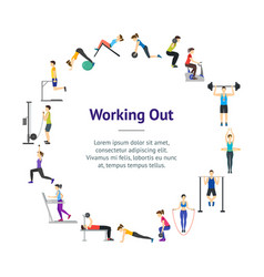 cartoon girl and boy workout exercise in gym vector image