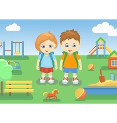school children on a playground outdoors with vector image