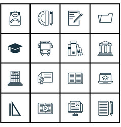 set of 16 school icons includes academy home vector image vector image