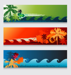 summer horizontal beach colourful abstract banners vector image vector image