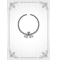 Vintage frame on striped silver background vector image vector image