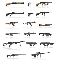 weapon and gun set collection icons 01 vector image vector image