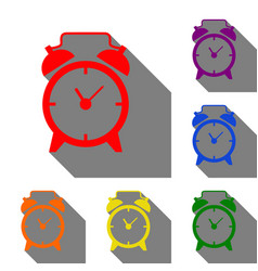 alarm clock sign set of red orange yellow vector image