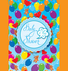 baby shower with round frame air balloons and vector image vector image