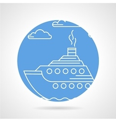 Blue round icon for steamer vector image