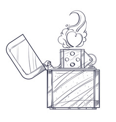 hand drawn vintage zippo sketch style black and vector image