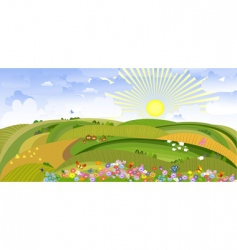 landscape with houses and sheep vector image