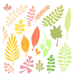 leaves silhouette set autumn isolated decoration vector image vector image