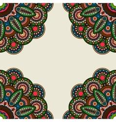 Ornate floral round motifs frame vector image vector image