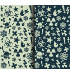 Set of Seamless warning symbols patterns vector image vector image